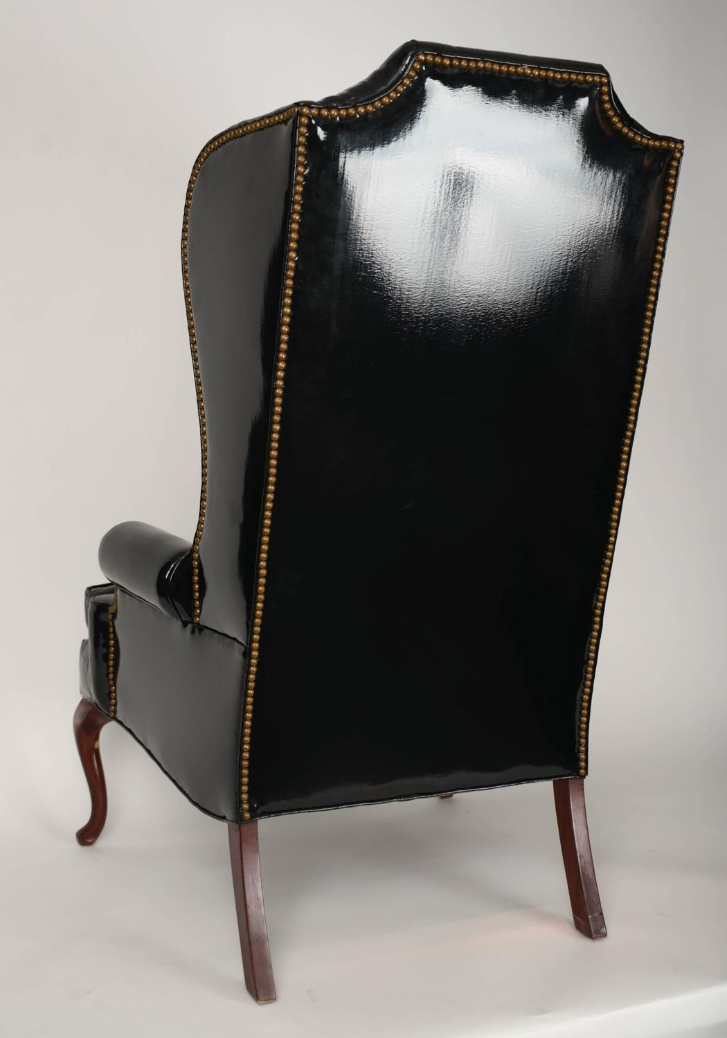 Vintage Black Wing Chairs With Nailhead Trim For Sale At