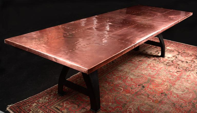 copper dining room table copper clad dining table for at 1stdibs 2943