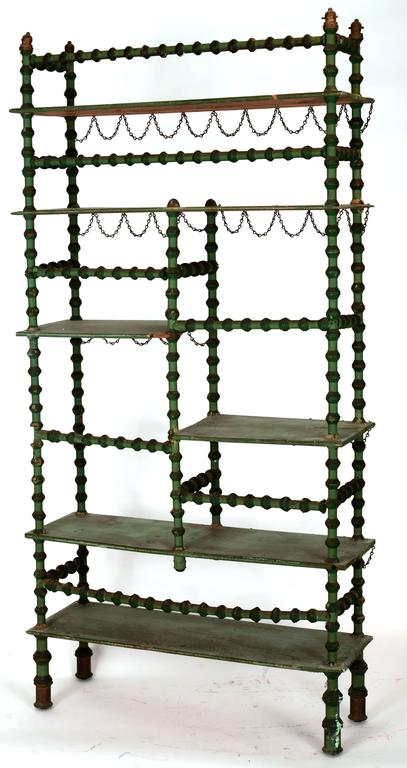 Painted Ornate Spool Shelving Unit For Sale