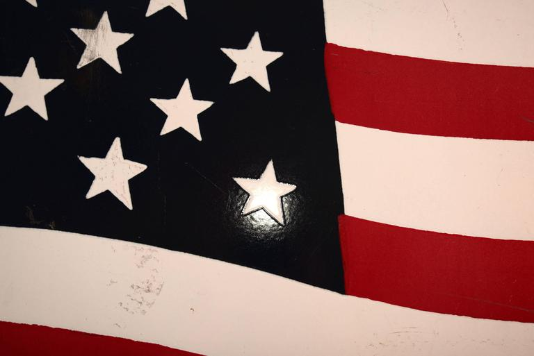 20th Century Huge Enamel American Flag For Sale