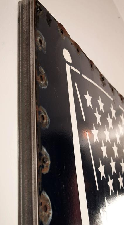 Huge Enamel American Flag In Good Condition For Sale In Seattle, WA