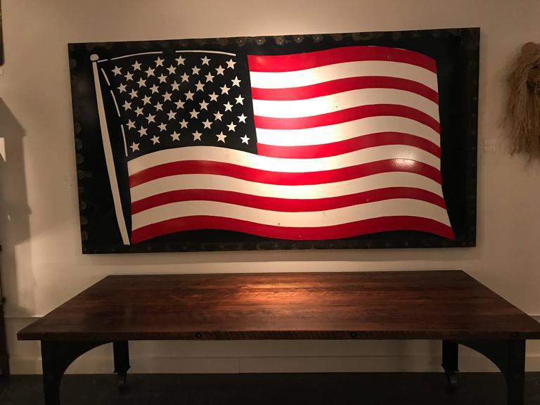 Hand-Painted Huge Enamel American Flag For Sale