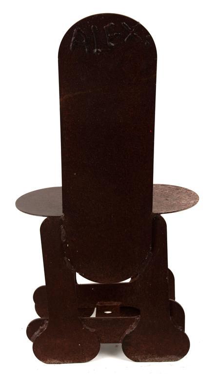 Late 20th Century Phallic Steel Chair For Sale