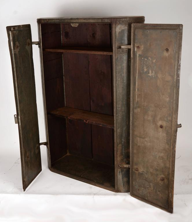 Early 20th Century Galvanized Cabinet For Sale