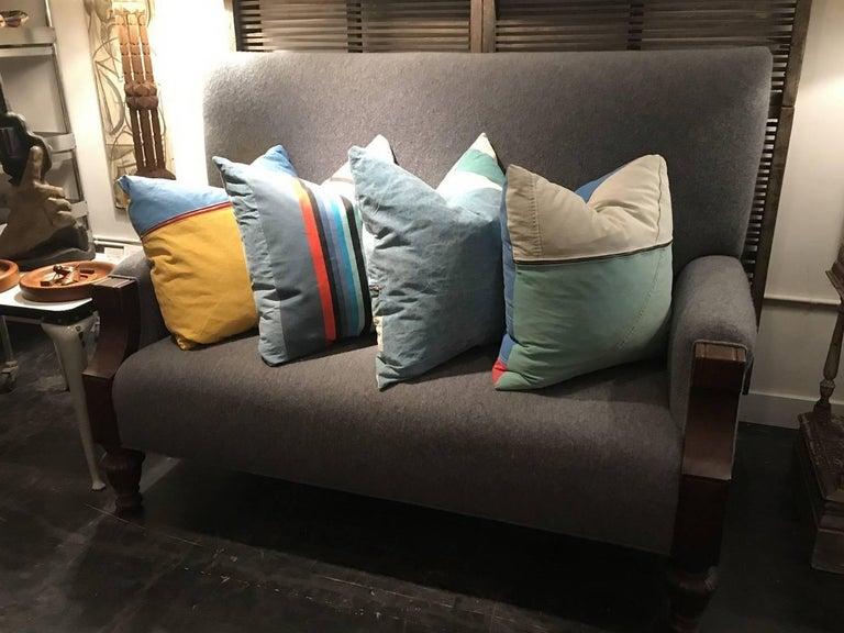 American Vintage Textile Pillow For Sale