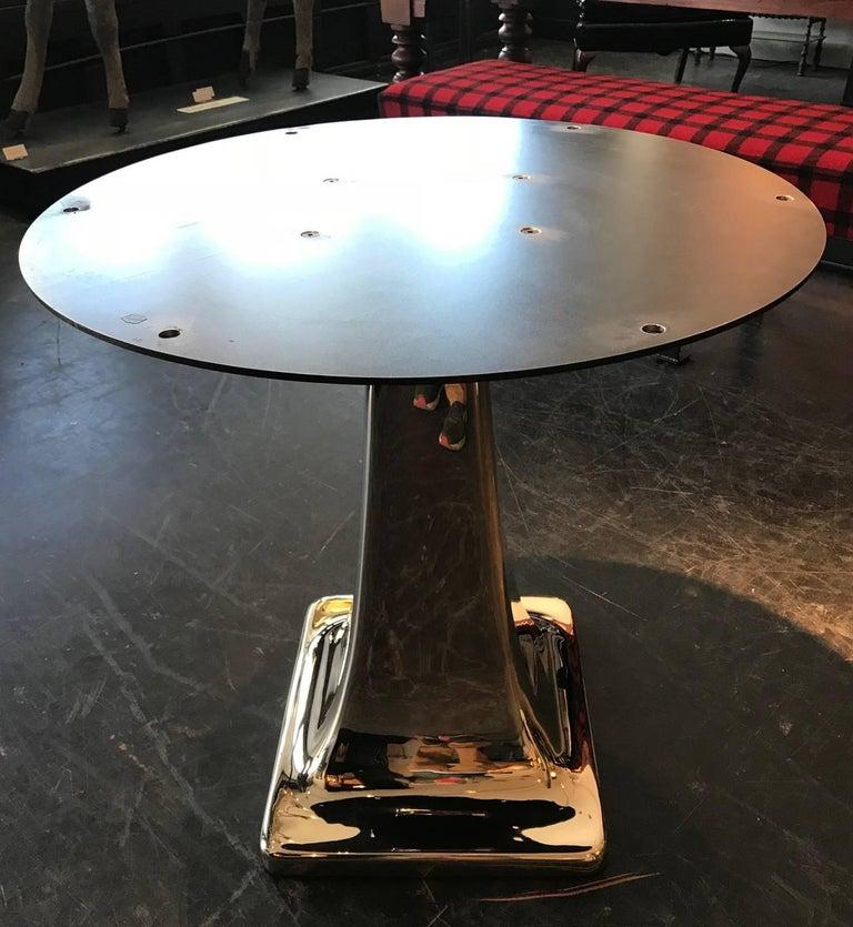 Blackened Solid Cast Bronze Pedestal Table Base For Sale