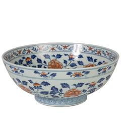 Chinese Bowl with Peony Scroll Decoration