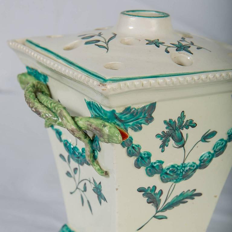 Neoclassical Creamware Pair of English Flower Holders, 18th Century For Sale