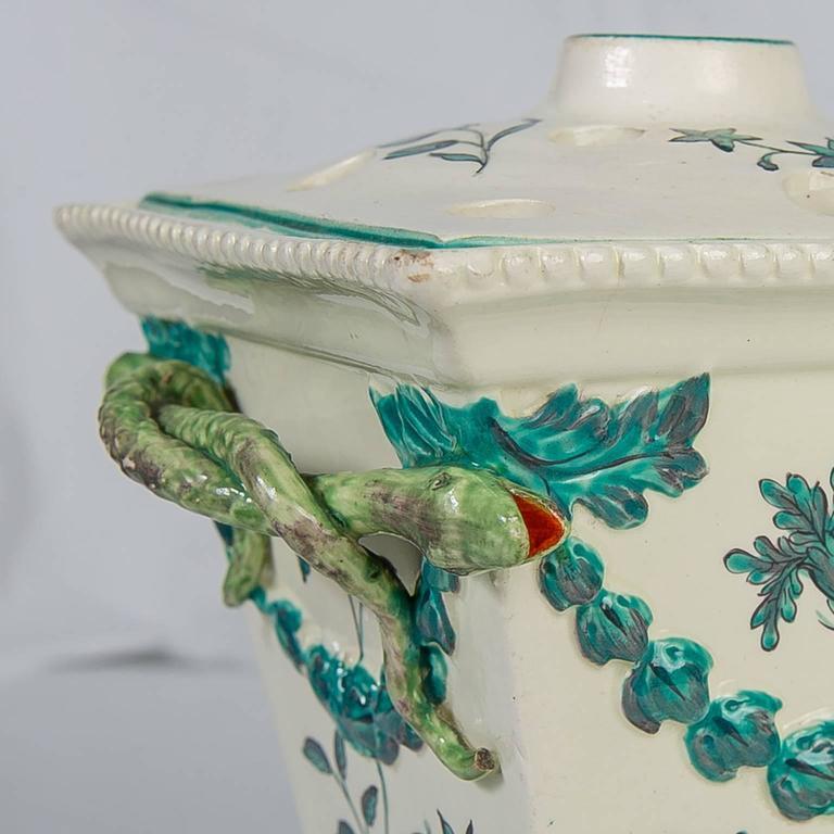 Great Britain (UK) Creamware Pair of English Flower Holders, 18th Century For Sale