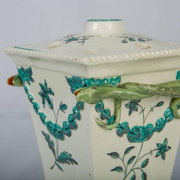 Creamware Pair of English Flower Holders, 18th Century For Sale 3