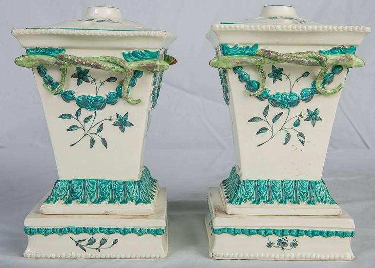 Creamware Pair of English Flower Holders, 18th Century For Sale 1