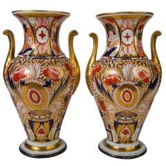 Pair of Imari Vases Coalport Admiral Nelson Pattern