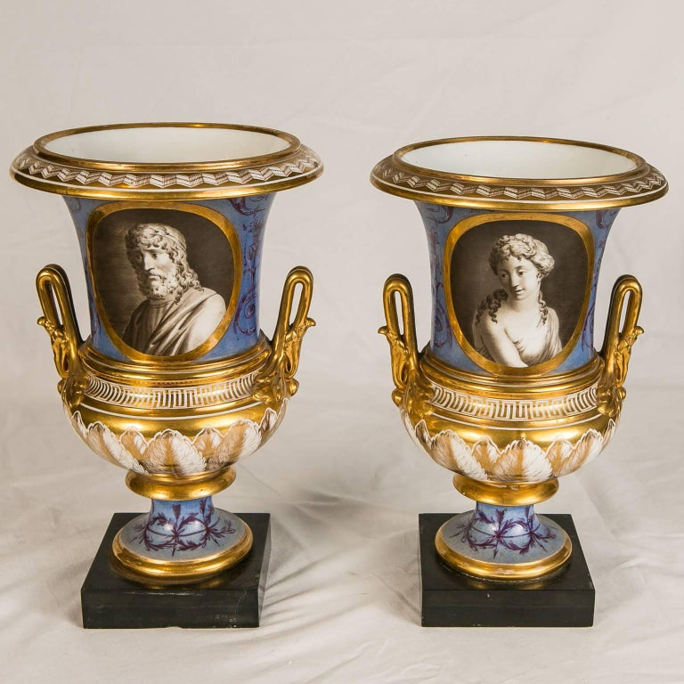 Pair of Neoclassical Portrait Vases Made in France circa 1820 2