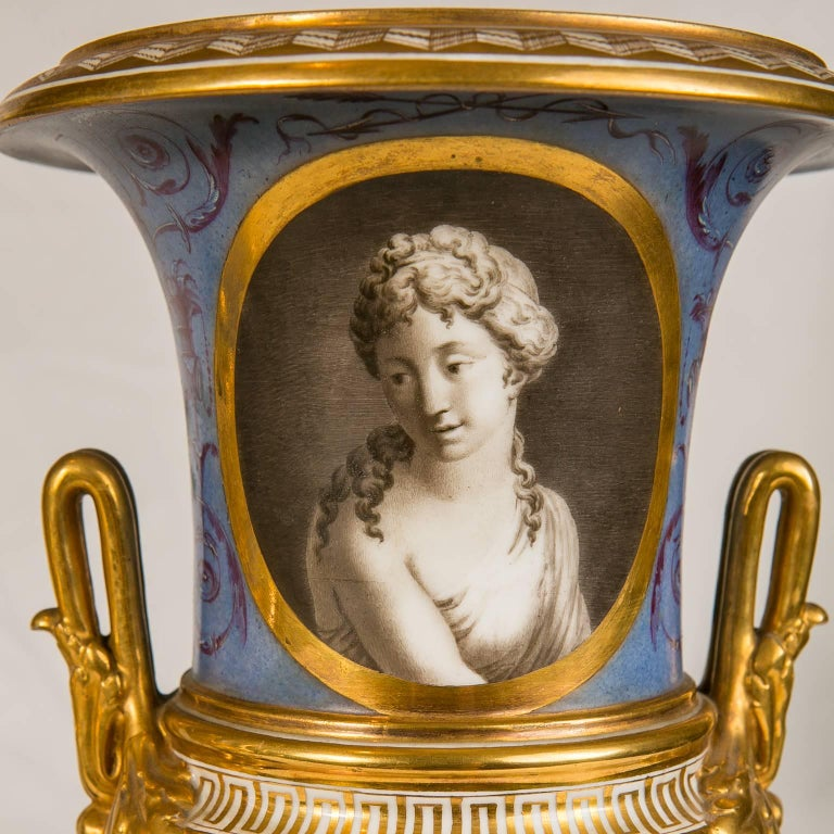 Pair of Neoclassical Portrait Vases Made in France circa 1820 6