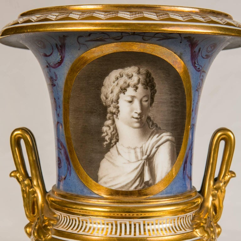 Pair of Neoclassical Portrait Vases Made in France circa 1820 3