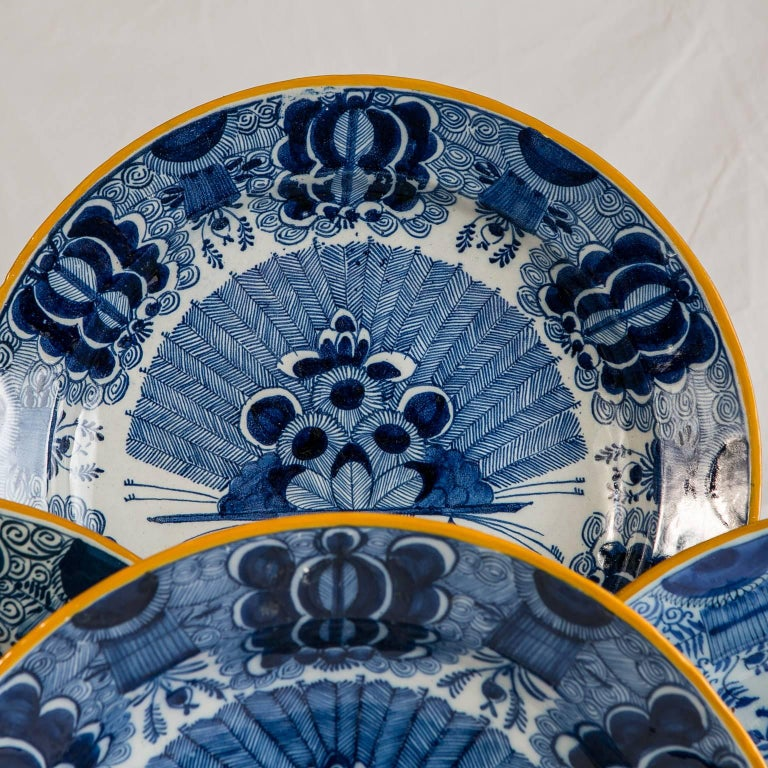 Platten Blau und weiß Delfter Gruppe von einem Dutzend 3