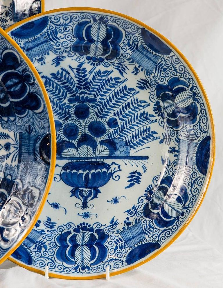 Platten Blau und weiß Delfter Gruppe von einem Dutzend 5