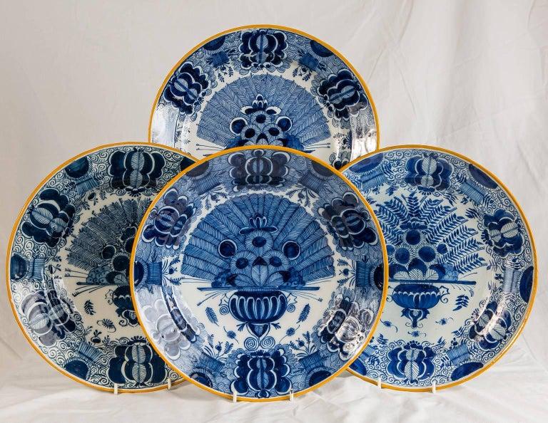 Platten Blau und weiß Delfter Gruppe von einem Dutzend 6