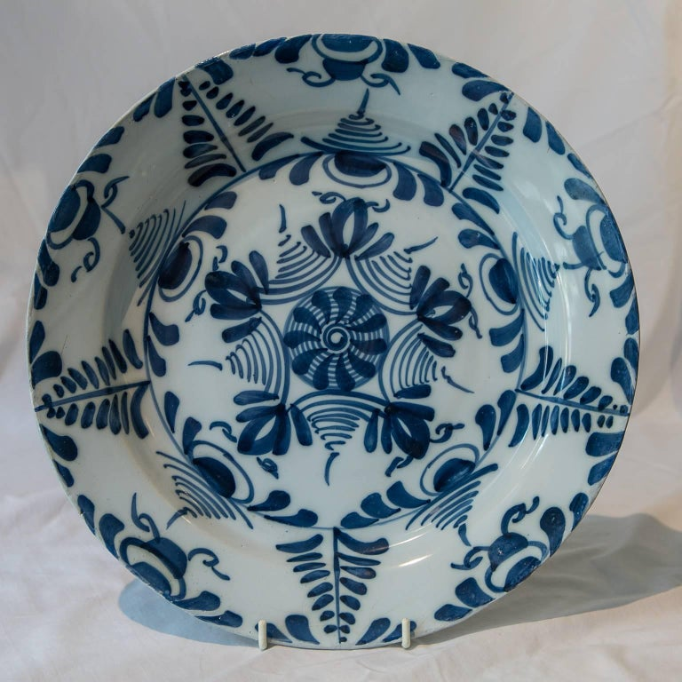 Hand-Painted Antique Delft Blue and White Charger Made circa 1760 For Sale
