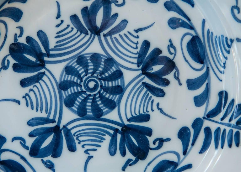 Rococo Antique Delft Blue and White Charger Made circa 1760 For Sale