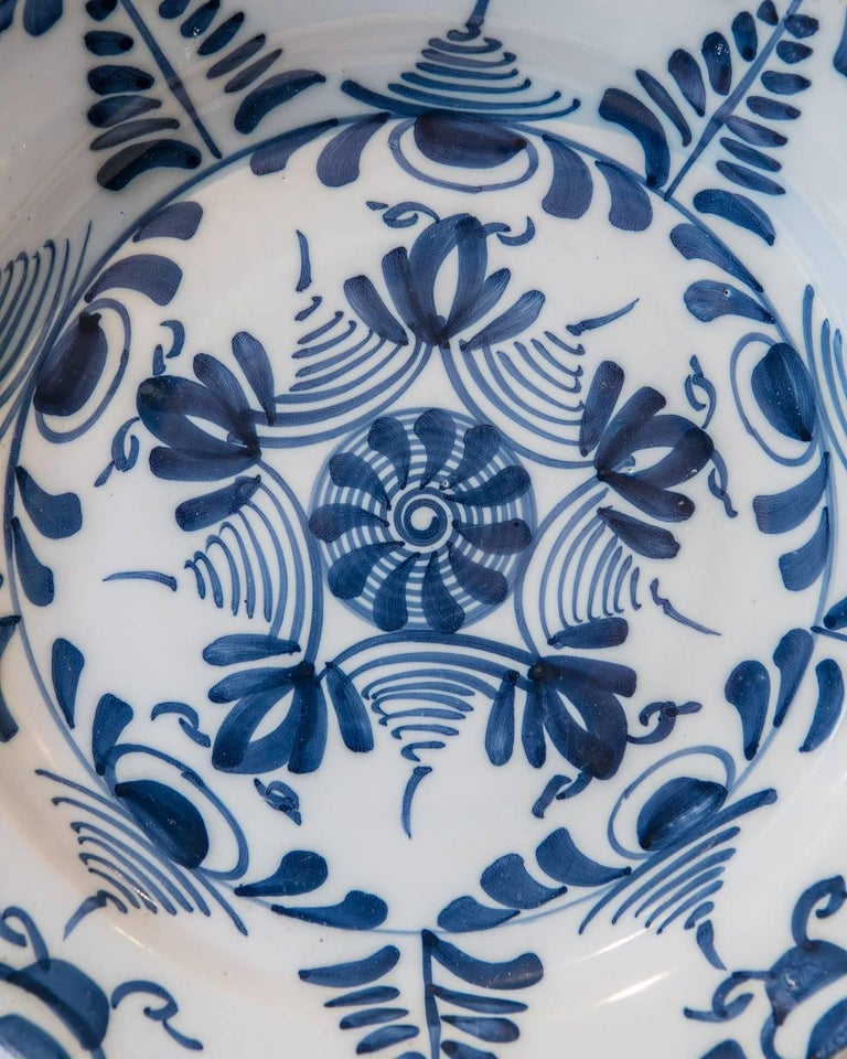 English Antique Delft Blue and White Charger Made circa 1760 For Sale