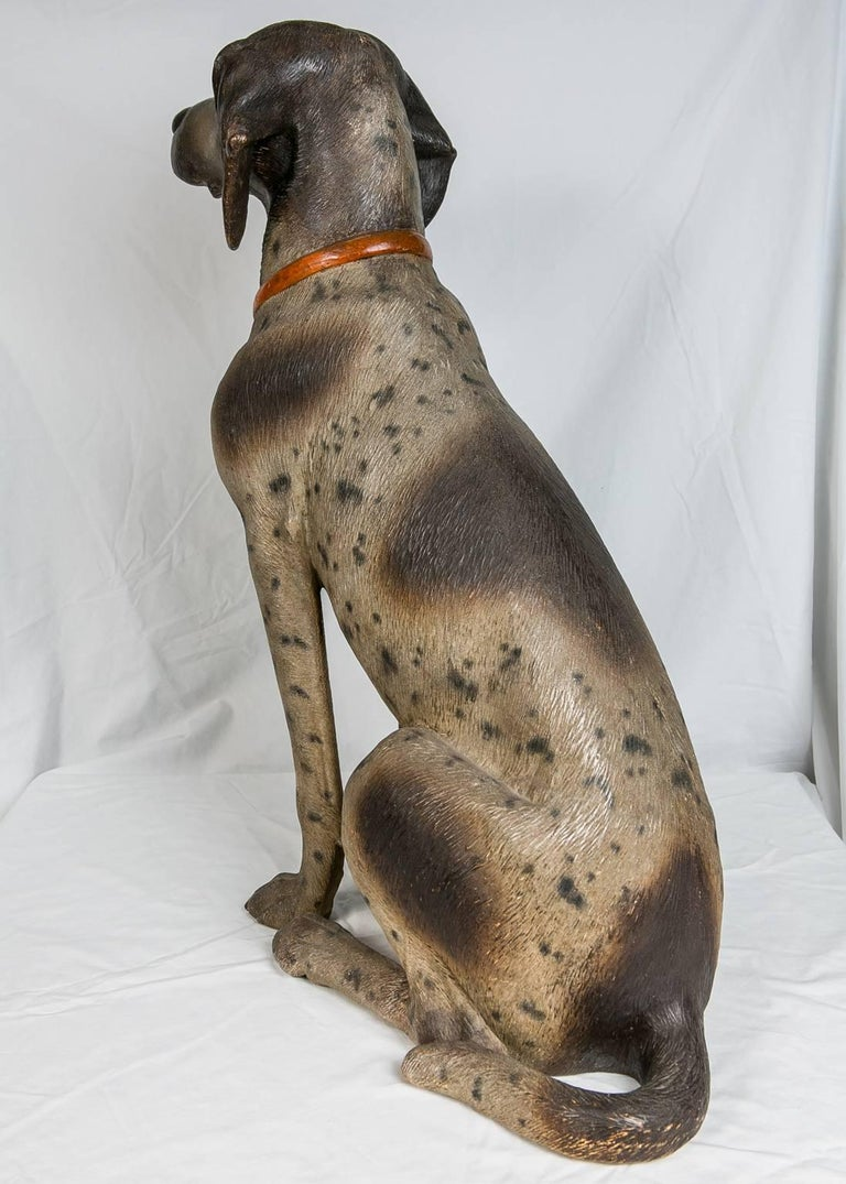 19th Century Austrian Hound Lifesize Cold Painted Antique For Sale