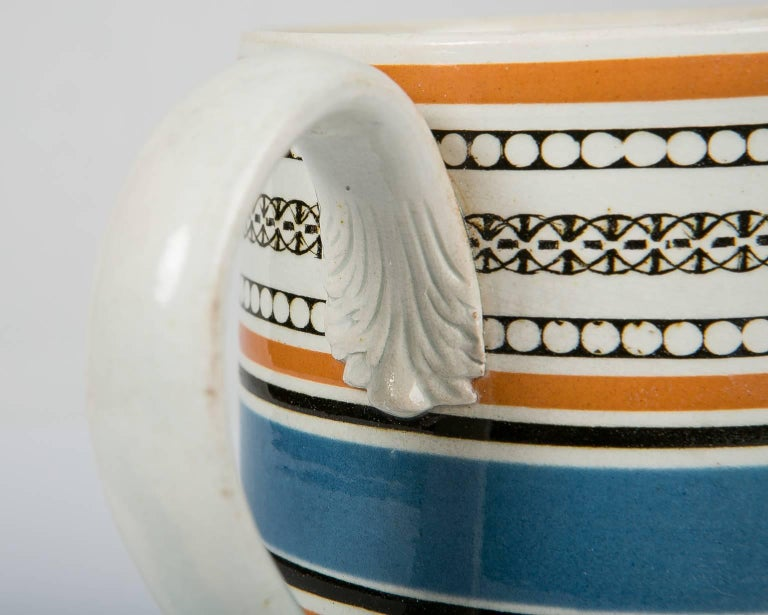 Creamware Teal and Orange Mug For Sale
