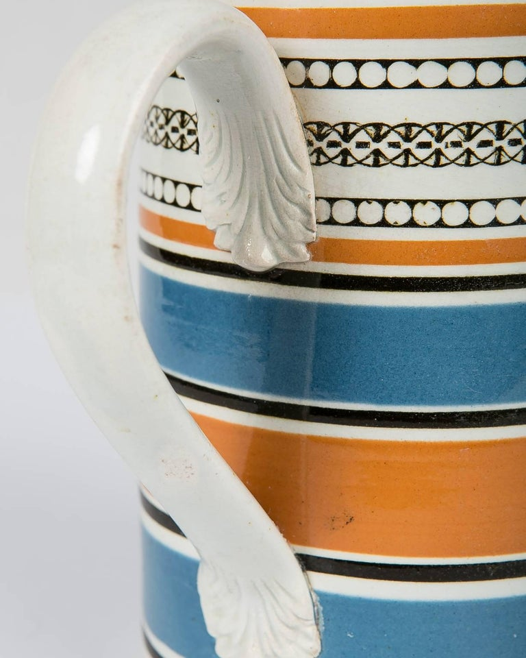 Early 19th Century Teal and Orange Mug For Sale