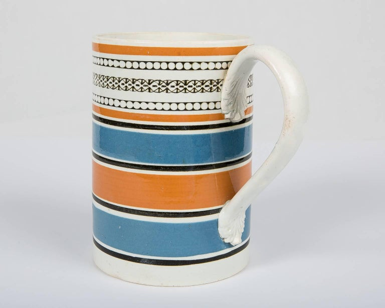Folk Art Teal and Orange Mug For Sale