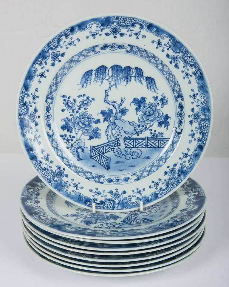Hand-Painted Blue and White Chinese Export Plates a Set of Ten For Sale