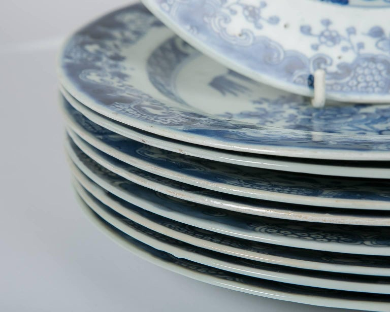 Blue and White Chinese Export Plates a Set of Ten For Sale 1