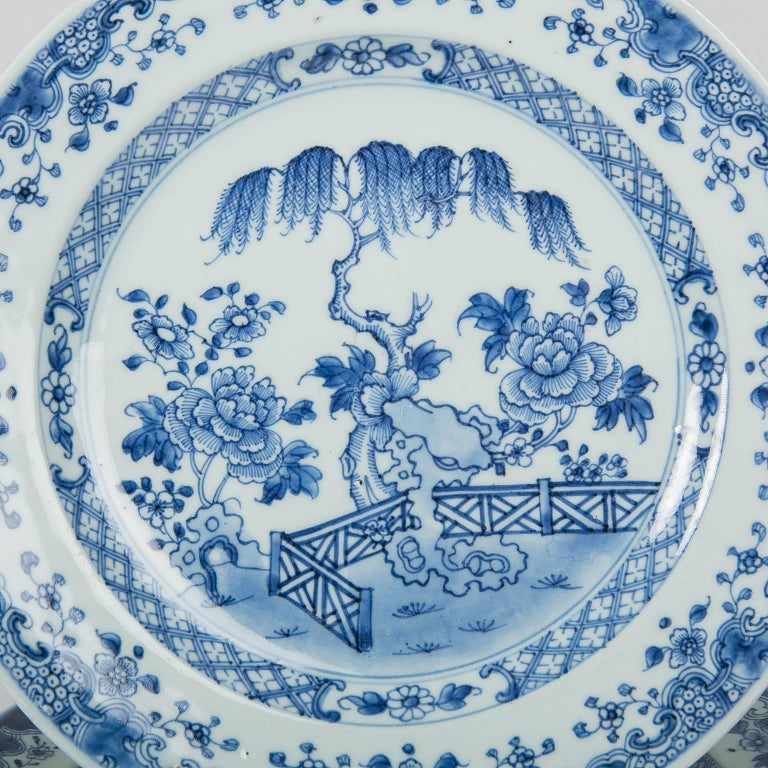 Mid-18th Century Blue and White Chinese Export Plates a Set of Ten For Sale