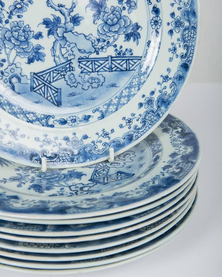 Porcelain Blue and White Chinese Export Plates a Set of Ten For Sale