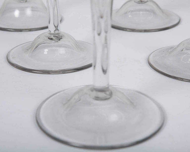 Mid-18th Century 18th Century Champagne Flutes a Set of Ten Large Glasses For Sale
