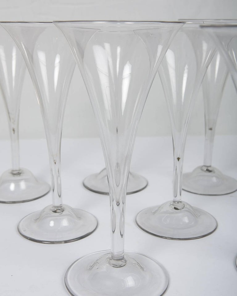 18th Century Champagne Flutes a Set of Ten Large Glasses 6