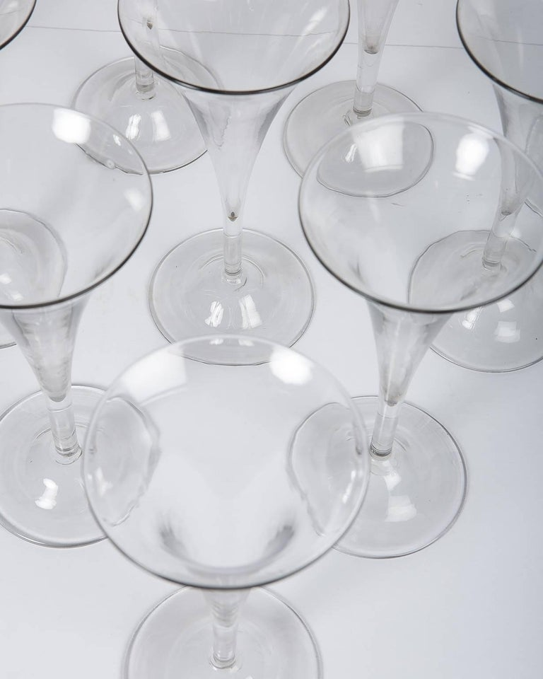 Blown Glass 18th Century Champagne Flutes a Set of Ten Large Glasses For Sale