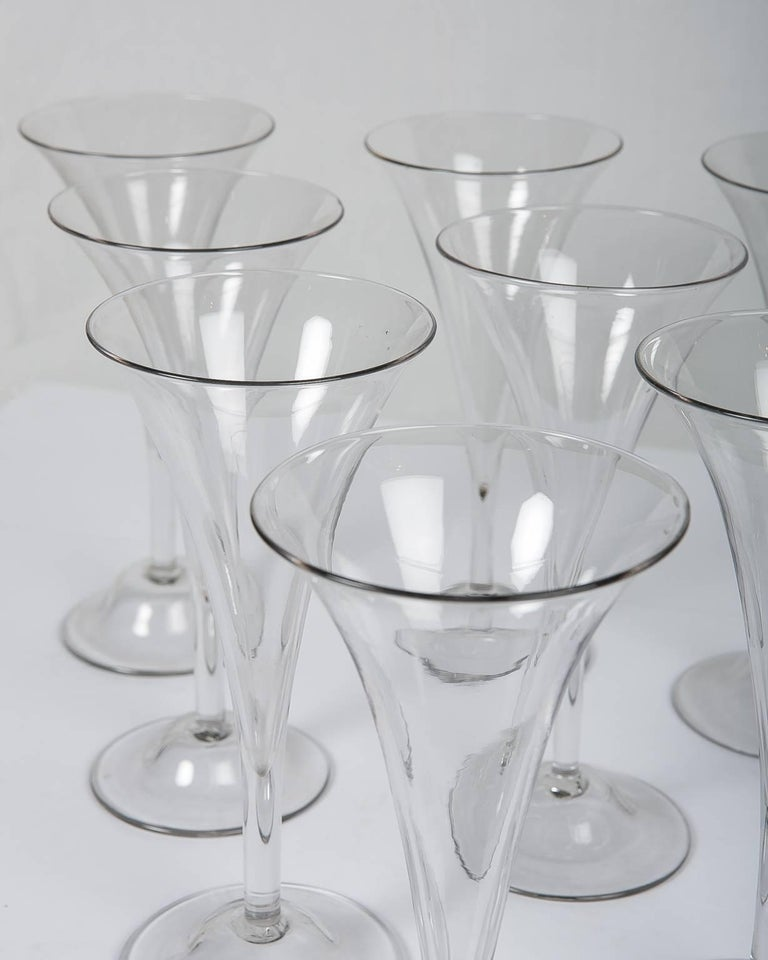 European 18th Century Champagne Flutes a Set of Ten Large Glasses For Sale