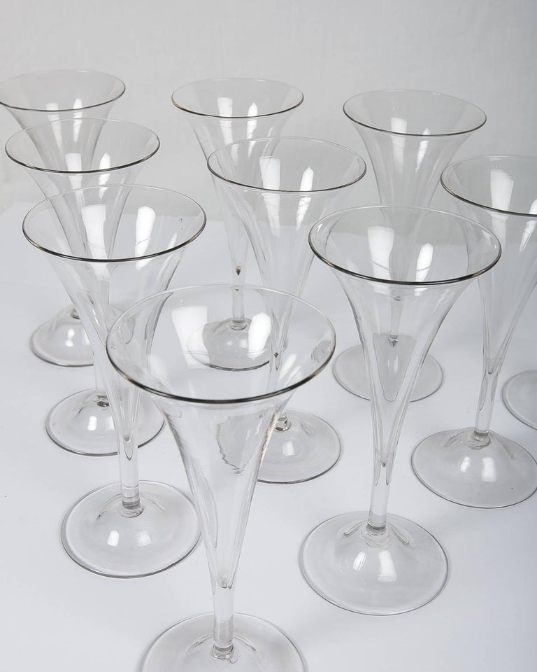 Hand-Crafted 18th Century Champagne Flutes a Set of Ten Large Glasses For Sale