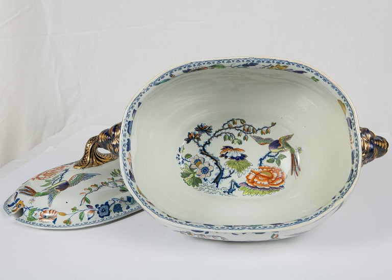 Antique Soup Tureen Flying Bird Pattern For Sale 2