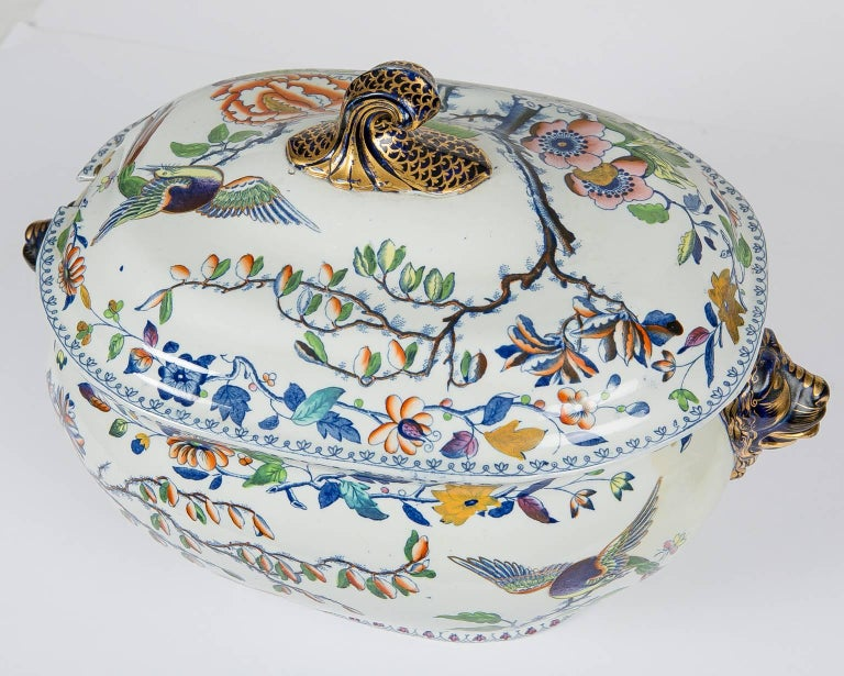 Antique Soup Tureen Flying Bird Pattern For Sale 1