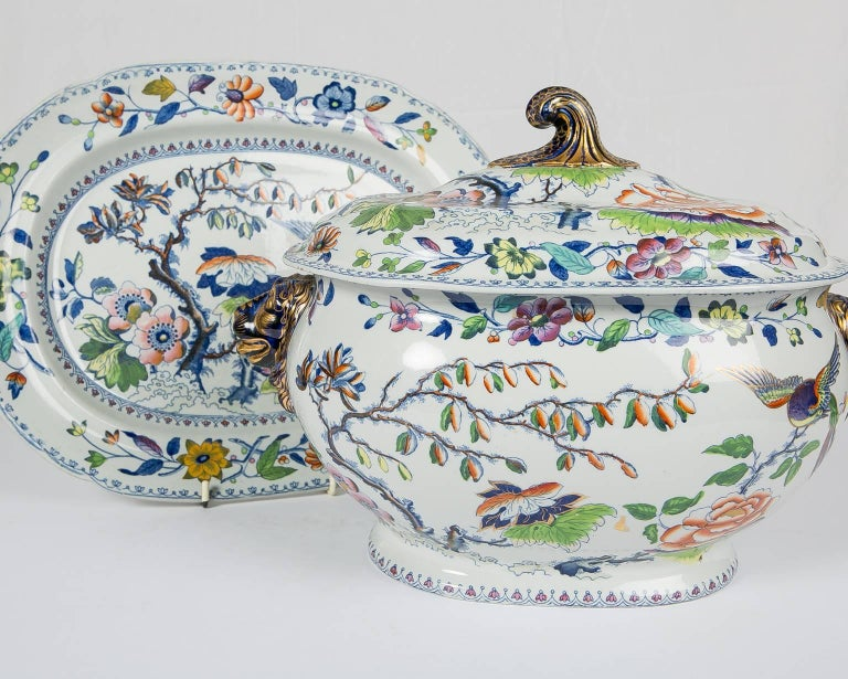 Ironstone Antique Soup Tureen Flying Bird Pattern For Sale