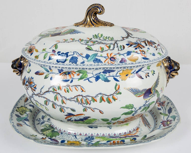 The flying bird pattern has been much sought after since it was first made in England, circa 1813. It is a lively, colorful pattern featuring a longtailed bird flying above a flower filled garden. The pattern showcases the exceptional and enduring
