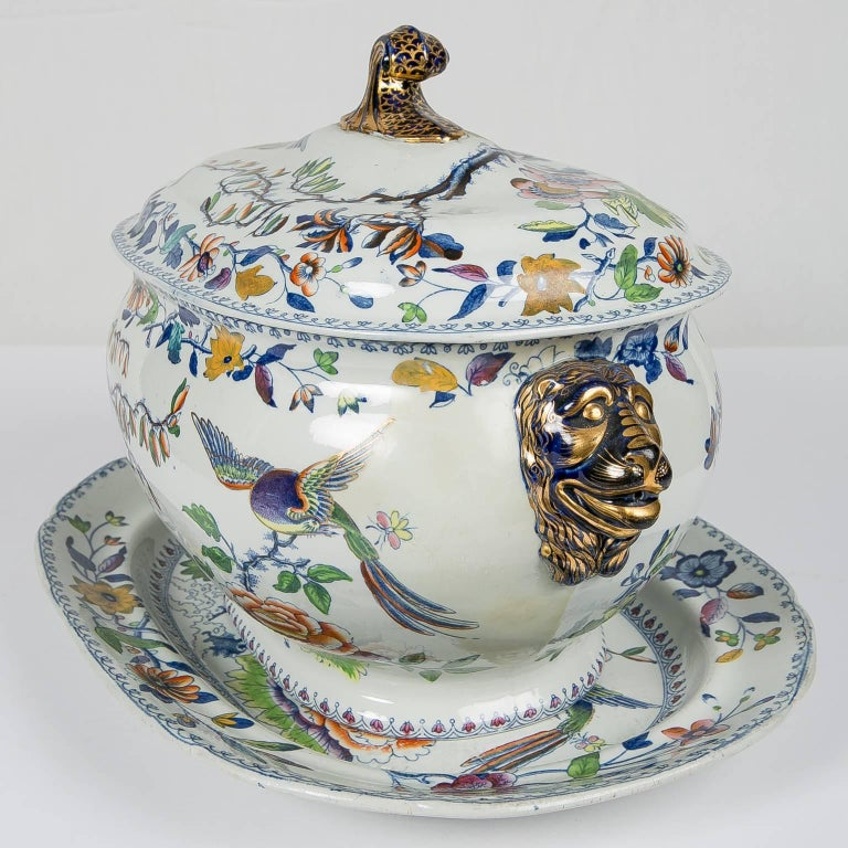 English Antique Soup Tureen Flying Bird Pattern For Sale
