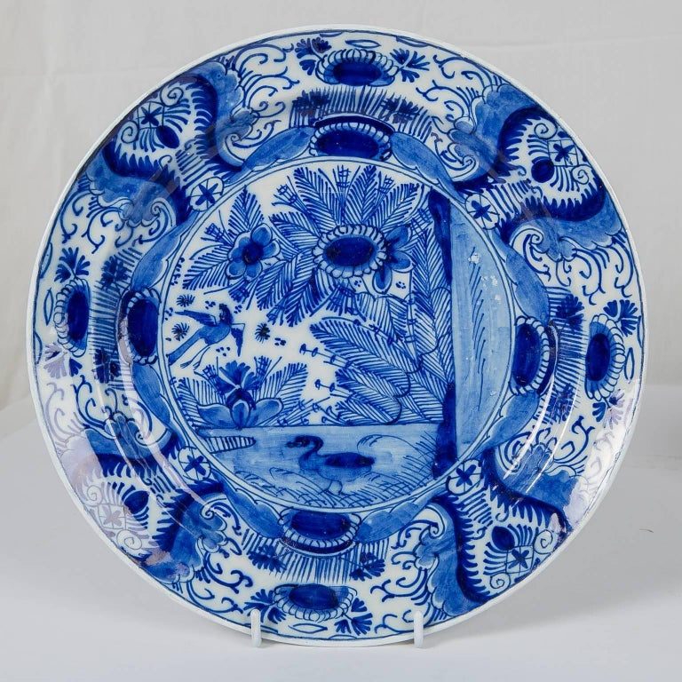 Chinoiserie Blue and White Dutch Delft Plate For Sale