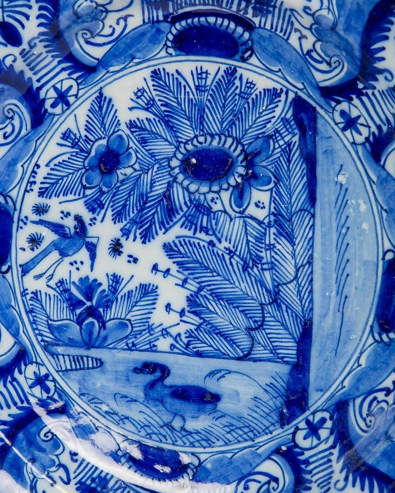 17th Century Blue and White Dutch Delft Plate For Sale