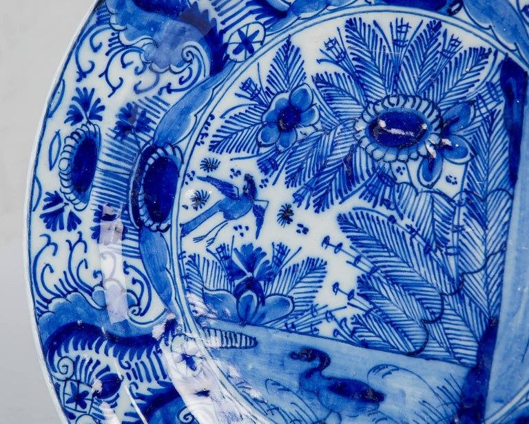 Hand-Painted Blue and White Dutch Delft Plate For Sale