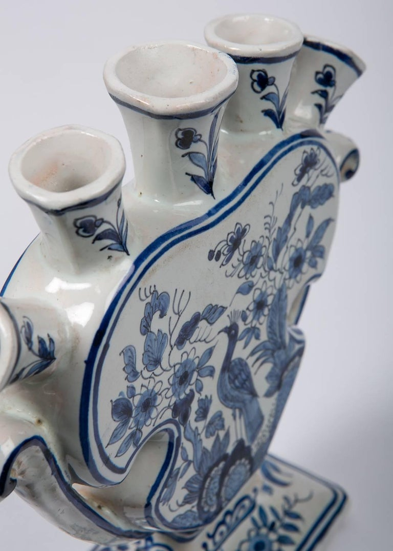 Delft Blue and White Tulipiere or Tulip Vase For Sale 2
