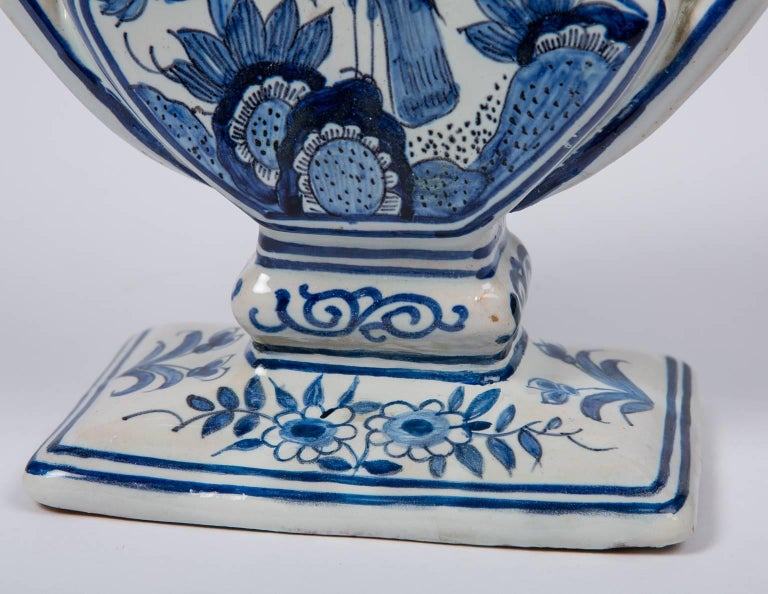 18th Century Delft Blue and White Tulipiere or Tulip Vase For Sale