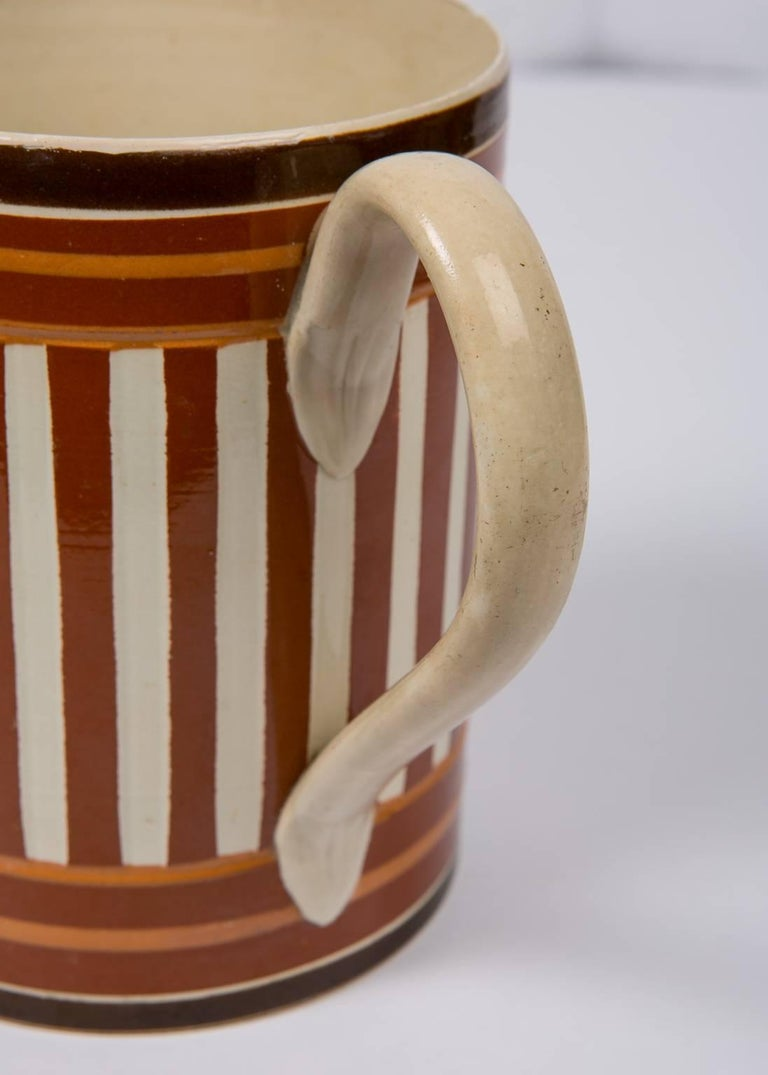 Antique Creamware Mochaware Mug with Stripes For Sale 1