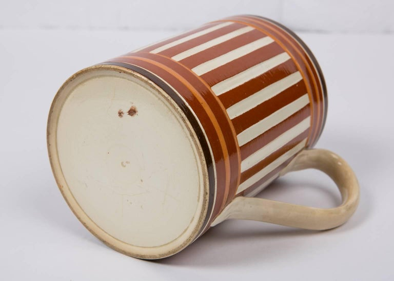 Antique Creamware Mochaware Mug with Stripes For Sale 2